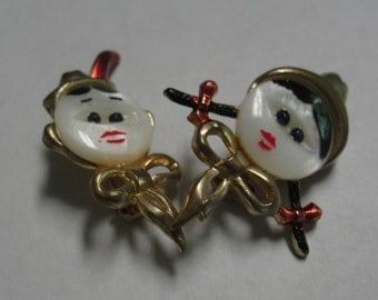 Mother of Pearl Boy and Girl Face Brooches