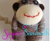 TUTORIAL for DIY Cute Mini Baby Sock Monkey 4 Inch Sculpted Toy Pattern Instant Download