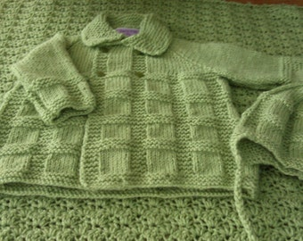 Knitted Boys Sweater Coat & Hat
