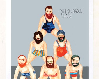 Fine Art Print on Paper, Beards, pyramid, Fun wall art, Quirky, Stripes, Unique gift, Dependable Chaps- Art Print on Paper