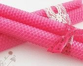 BEESWAX Natural Taper Candles--HOT PINK color---Hand Rolled--Special Day Gifts