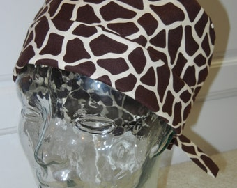 Tie Back Surgical Scrub Hat with Giraffe Brown