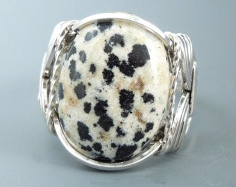 Sterling Silver Dalmatian Jasper Cabochon Wire Wrapped Ring
