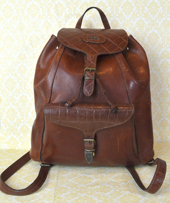 Vintage Leather Backpack Saddle Brown El Campero Italian