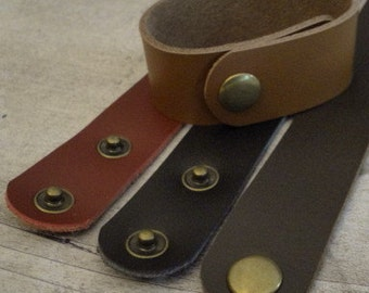 Leather Bracelets with Two Snaps - 1 inch wide X 9 inches long - 4 colors available now - 3 more coming - use with rectangle bracelet blanks