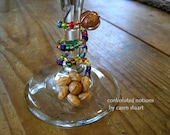 glass beaded wine charm with vintage repurposed earring