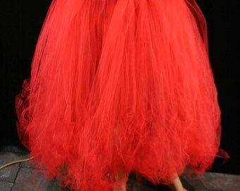 Adult tutu skirt long red trashy extra puffy petticoat dance formal wedding bridal lydia gypsy -You Choose Size- Sisters of the Moon