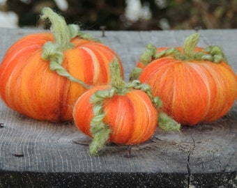 Autumn Pumpkins - A trio of Waldorf Inspired Needle Felted pumpkins -