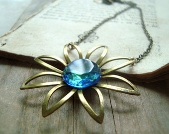 Brass Daisy Necklace With Blue Glass Flower Jewelry Spring Fashion Mothers Day Statement Jewelry Brass Jewelry Gifts Under 40