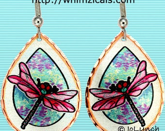 Dragonfly Earrings Lucky Pink Dragonfly Art Jewelry