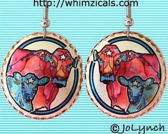 Cow / Calf Earrings on Beautiful Copper