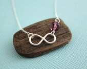 Amethyst Birthstone Love Infinity Charm Pendant Necklace, Forever Love Symbol Urban Chic Classic customized great Christmas gift Made in USA