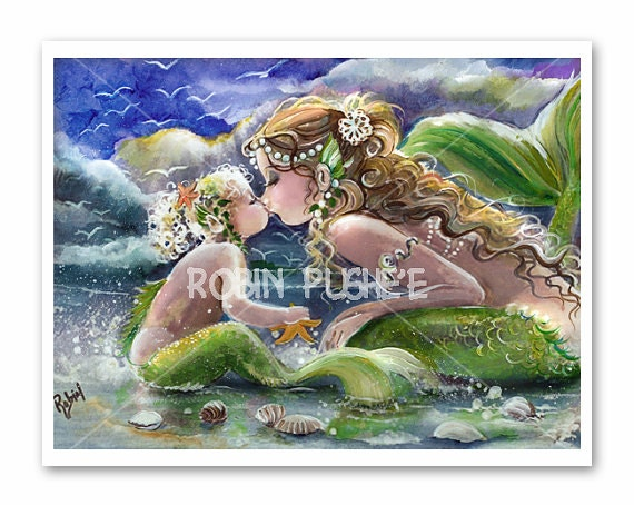 Mermaid Mom And Baby On The Beachart Print