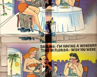25 Florida comic postcard oversized 50s old stock Red Face Wife Drunk Husband