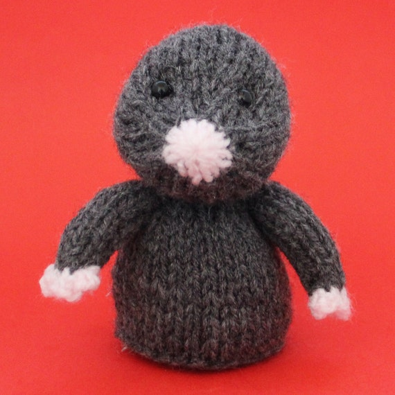 Mole Toy Knitting Pattern (PDF) Toy, Egg Cozy & Finger Puppet instructions included