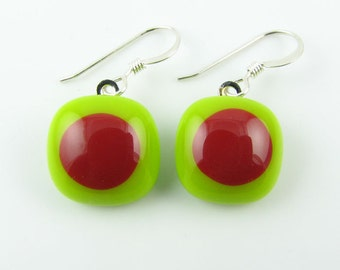 Lime / Red Fused Glass Earrings. Made To Order. Fused Glass Jewelry. Handcut and designed in Texas. Simple Earrings. Everyday Jewelry.