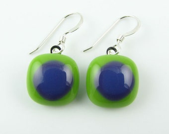 Pea Green & Dark Purple Fused Glass Earrings. Made To Order. Fused Glass Jewelry. Casual Jewelry. Simple Earrings. Modern Glass Jewelry.