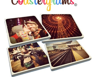 Set of 8 of any of your Instagram photos on tumbled porcelain Stone Drink Coasters. Super high quality!