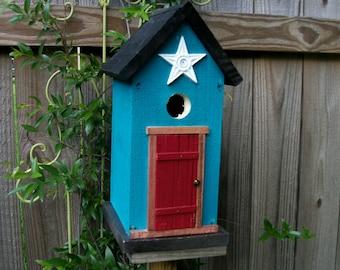 Folk Art Primitive Garden Cottage Deep Turquoise  Birdhouse