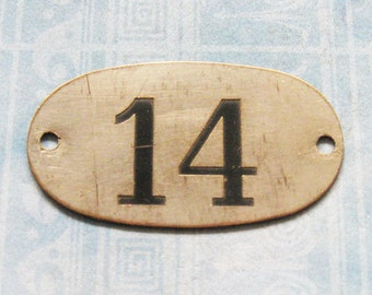 Industrial Brass Tag Number 14 Antique Rustic Silver Nickel PO Box Painted Numbered Victorian Postal ID Hardware Plate