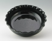 Handcrafted Large 9 Inch Deep Dish Pie Baker, Black, Fluted Rim, Ready to Ship