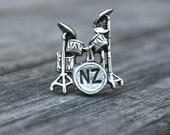 Personalized Drum Set Tie Tack - Custom Tie Tack - Drum Lapel Pin