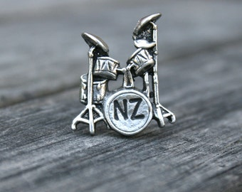 Personalized Drum Set Tie Tack - Custom Tie Tack - Drum Lapel Pin