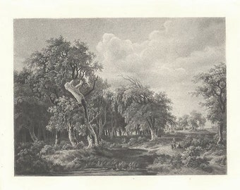 LANDSCAPE by MEINDERT HOBBEMA Pastural Rural & Rustic Photogravure Lovely 1800s Victorian Era Antique Art Print [Inv#LndEth 10
