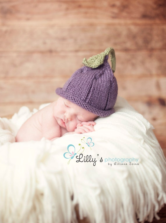 Plum Pixie Hat Knitted NB to 24 mo sizes Photography Prop