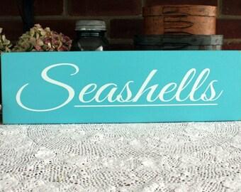 Wood Sign Seashells Shabby Beach Cottage Wall Decor Coastal Nautical Theme Home Decor