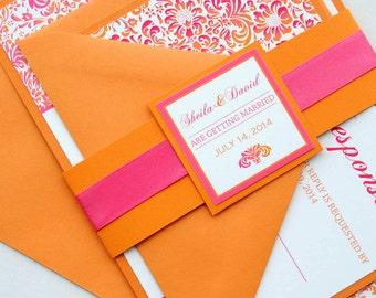 Pink and Orange Tropical Damask Invitation and RSVP Destination Wedding Suite
