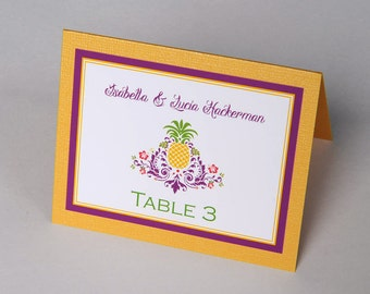 Pineapple Damask Tropical Beach Destination Wedding Place Cards
