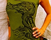 Tree Tshirt Green Capsleeve Stretchy Cotton Sm, M, L, XL