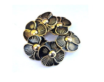 6 Vintage buttons black flower shape enamel metal 23mm