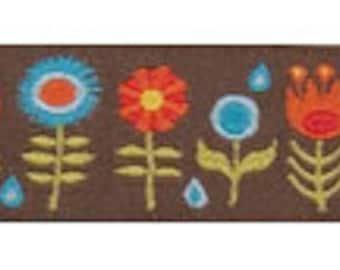 1 Yard Brown Funky Flowers Jacquard Ribbon