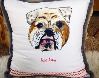 Bulldog dog portrait pillow cover