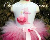 Baby Girl 1st Birthday Tutu Outfit - Pink Cupcake Tutu Set - Cake Smash Photo Prop