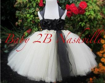 Black and Ivory Dress Flower Girl Dress Tulle  Dress Wedding Dress Party Dress Birthday Dress Ivory Dress Toddler Tutu Dress Girls Dress