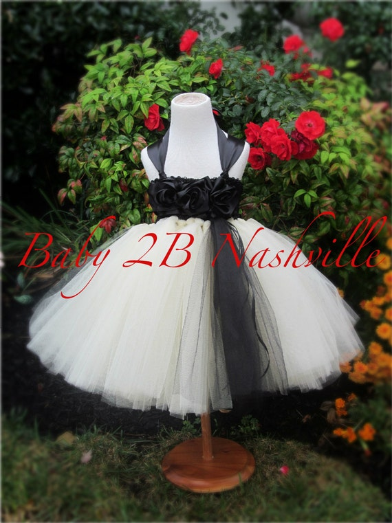 Black and Ivory Dress Flower Girl Dress Tulle  Dress Wedding Dress Party Dress Birthday Dress Ivory Dress Toddler Tutu Dress Girls Dress