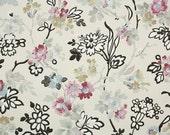 1920's Vintage Wallpaper - Antique Floral Wallpaper with Purple and Blue Flowers and Black Accents