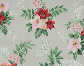 1940's Vintage Wallpaper - Floral Wallpaper with Pink and Red Flowers on Gray