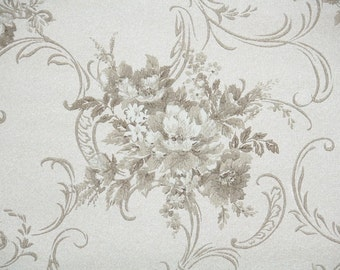 1950s Vintage Wallpaper by the Yard - Gray and Ivory Floral Wallpaper