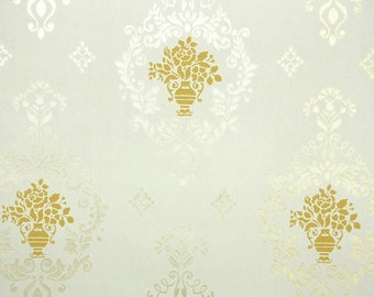 1930s Vintage Wallpaper by the Yard -  Gold and Yellow Victoian Damask