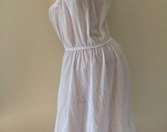 Vintage 70s Sweet Romantic Ruffled Strappy Sheer w Lace Summer Sundress Boho Dress Nightie Lanz and Gunne Sax inspired