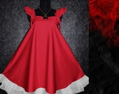 40s 50s Red Gothic RUFFLE Swing Babydoll Prom Dress Plus Size US 16 18