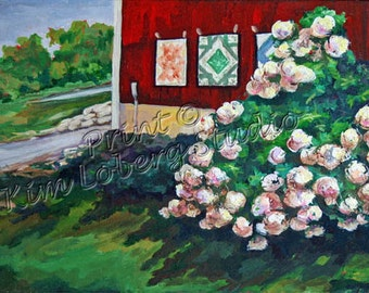 Farm Country Landscape Red Barn Quilts Hydrangea Bush ACEO mini art PRINT Kim Loberg Nebraska Artist EBSQ
