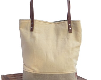 Resort Bag, Yellow Linen Tote, Market Tote Bag, Resort Tote, Beach Bag, Linen Burlap Bag, Resort Day Bag, Cruise Ship Bag, Canvas Bag