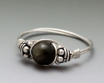 Golden Sheen Obsidian Bali Sterling Silver Wire Wrapped Bead Ring - Made to Order, Ships Fast!