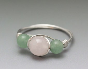 Rose Quartz & Aventurine Sterling Silver Wire Wrapped Bead Ring - Made to Order, Ships Fast!