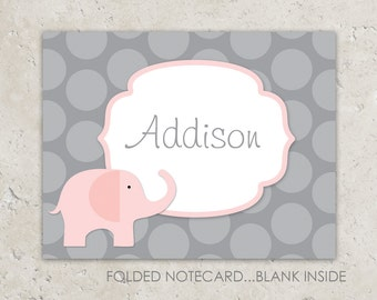 Elephant Folded Notecards - Thank you notes - soft pink with grey polka dots